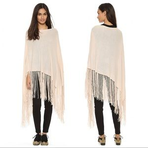 NWT THE PERFEXT $695 Cashmere Joan Fringe Poncho